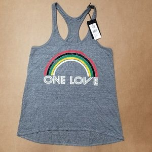 Chaser One Love Rainbow Tank Top Women's Size L